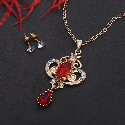 """Headsets 2 items: earrings, pendant """"Agur"""" Vivaldi, the color is white and red in gold, 50cm"""