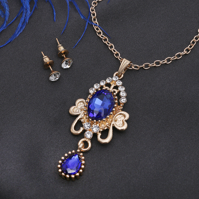 """Headsets 2 items: earrings and pendant """"Agur"""" Vivaldi, the color is blue and white in gold, 50cm"""