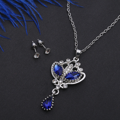 """Headsets 2 items: earrings and pendant """"Agur"""" Vivaldi, the color is white-blue in silver, 50 cm"""