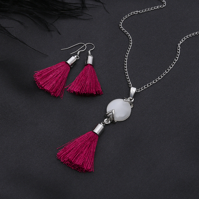 """Headsets 2 items: earrings and pendant """"Brush"""" circle Naturelle, color white maroon silver, 45 cm 25315"""