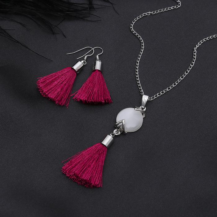 """Гарнитур 2 предмета: серьги, кулон """"Кисти"""" круг натурель, цвет бело-бордовый в серебре, 45 см"""