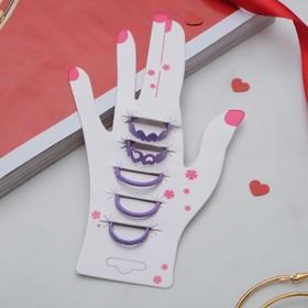 Кольцо на фалангу набор 5 штук 'Ассорти', цвет фиолетовый, размер 14,15,16 МИКС Ош