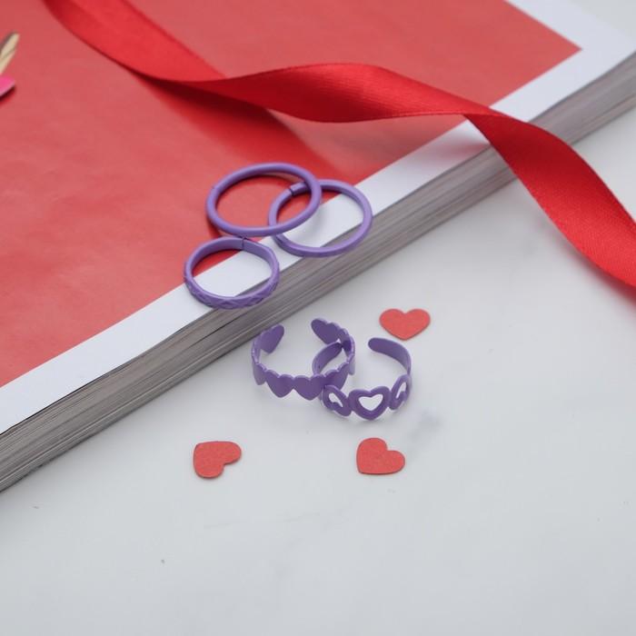"""Кольцо на фалангу набор 5 штук """"Ассорти"""", цвет фиолетовый, размер 14,15,16 МИКС"""