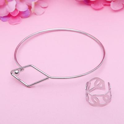 """Набор 2 предмета: браслет, кольцо """"Мини"""" ромб, цвет серебро, безразмерное"""