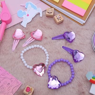 """Набор детский """"Выбражулька"""" 3 предмета: браслет, 2 заколки, сердца, цвет МИКС"""
