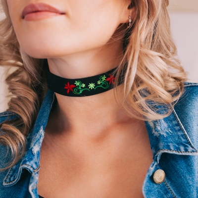 Choker rose embroidery, flowers symmetry, color red green black