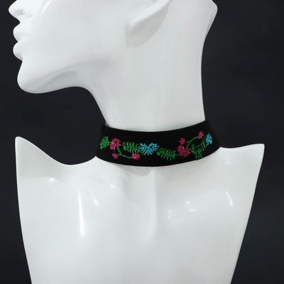 Choker rose embroidery, flower meadow, color