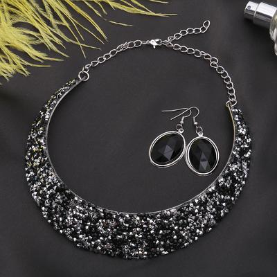"""Набор 2 предмета: серьги, колье """"Шанталь"""", цвет чёрно-белый в серебре"""
