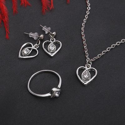 """Гарнитур 3 предмета: серьги, кулон, кольцо размер МИКС 16-18 """"Сердце"""", цвет белый в серебре, 40см"""