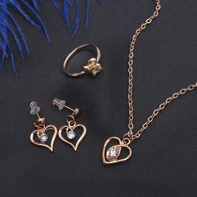 """Headsets 3 items: earrings, pendant, ring, size MIX (16-18) the """"Heart"""", white gold, 40cm"""