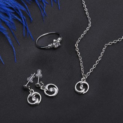 """Гарнитур 3 предмета: серьги, кулон, кольцо размер МИКС 16-18 """"Дельфин"""", цвет белый в серебре, 40см"""
