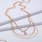 """Кулон """"Пальмира"""" 4 нити, цветок, цвет бело-розовый в золоте, 80см"""