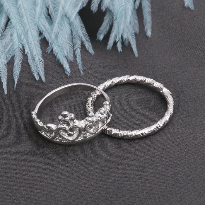 "Кольцо набор 2 штуки ""Белла"" корона, цвет серебро, размер 17-18 МИКС"