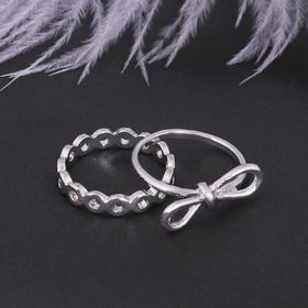Кольцо набор 2 штуки 'Белла' бантик, цвет серебро, размер 17-18 МИКС Ош