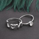 """Кольцо набор 2 штуки """"Белла"""" любовь, цвет белый в серебре, размер 17-18 МИКС"""