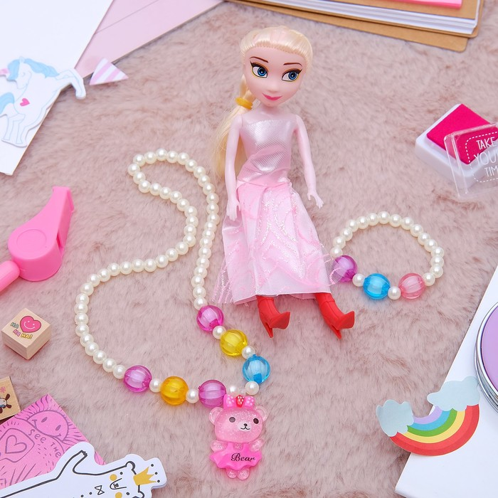 """Набор детский """"Выбражулька"""" 3 предмета: кукла, кулон, браслет, мишка, цвет МИКС"""