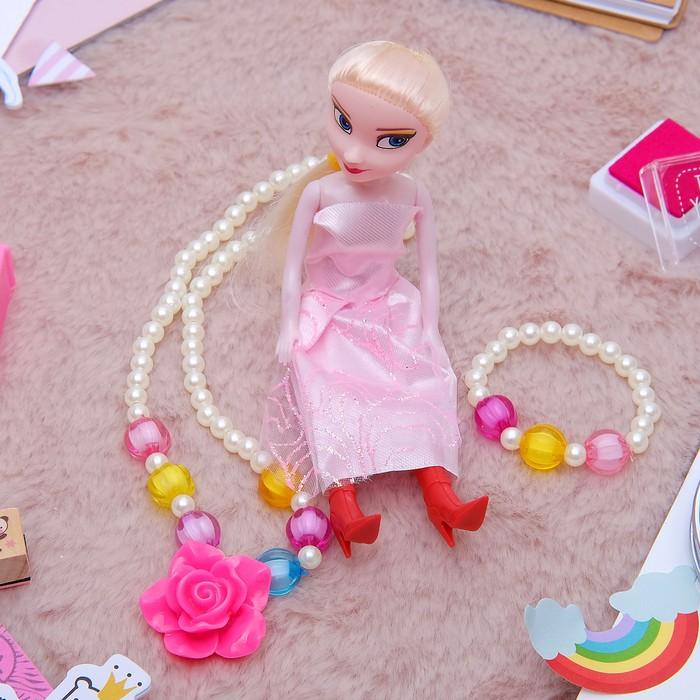 """Набор детский """"Выбражулька"""" 3 предмета: кукла, кулон, браслет, розочка, цвет МИКС - фото 448784380"""