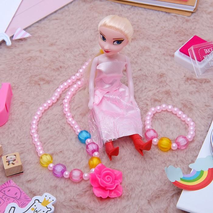 """Набор детский """"Выбражулька"""" 3 предмета: кукла, кулон, браслет, розочка, цвет МИКС - фото 448784381"""