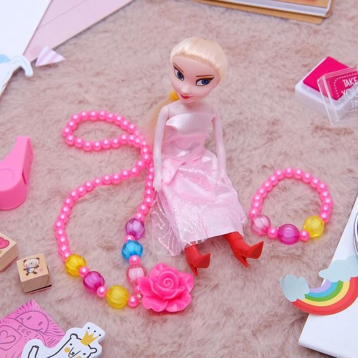 """Набор детский """"Выбражулька"""" 3 предмета: кукла, кулон, браслет, розочка, цвет МИКС - фото 448784382"""