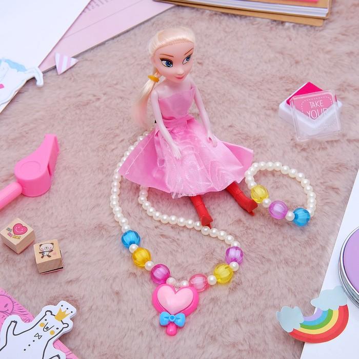 """Набор детский """"Выбражулька"""" 3 предмета: кукла, кулон, браслет, сердце, цвет МИКС - фото 450067346"""