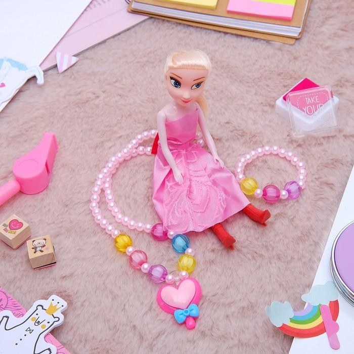 """Набор детский """"Выбражулька"""" 3 предмета: кукла, кулон, браслет, сердце, цвет МИКС - фото 450067347"""