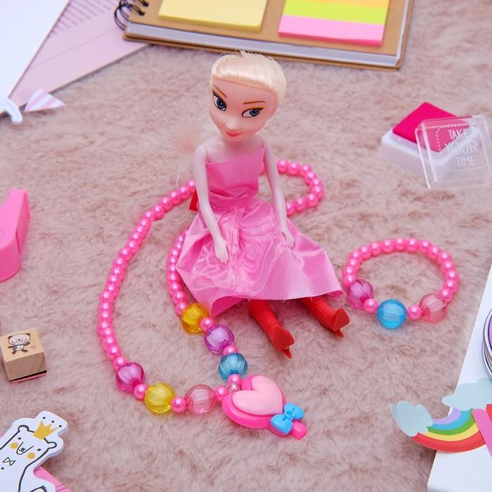 """Набор детский """"Выбражулька"""" 3 предмета: кукла, кулон, браслет, сердце, цвет МИКС - фото 450067348"""
