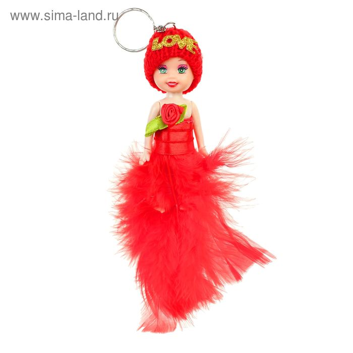 """Игрушка куколка-брелок """"Куколка"""" цветочек на груди, цвета МИКС"""
