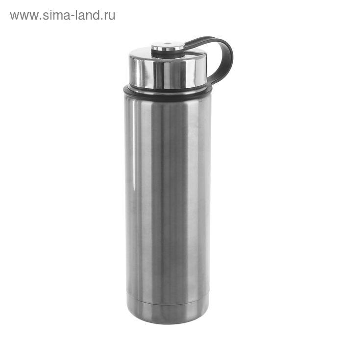 Термос 600 мл, широкая ручка на крышке, узкое горло, держит тепло 24 ч, 7х24 см