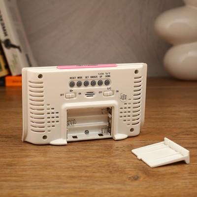 Часы-будильник электронные, с подсветкой и термометром, 13.5х8 см, микс