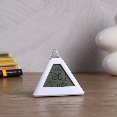 "Часы-будильник электронные ""Пирамида"", с термометром, 10х9.6 см"