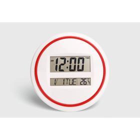 """Часы настенные электронные """"Круг"""" с календарем, таймером и термометром, 26х26 см"""