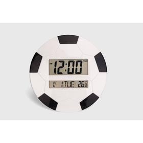 """Часы настенные электронные """"Футбольный мяч"""" с календарём и термометром, 26х26 см, микс"""
