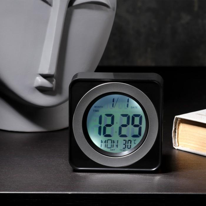 Будильник LuazON LB-20, температура, подсветка срабатывает от хлопка, черный