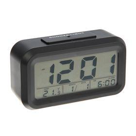 Часы-будильник Luazon LC-01, подсветка, календарь, температура, черный