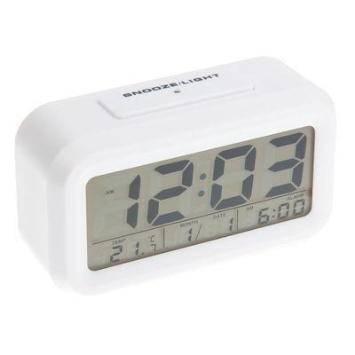 Часы-будильник Luazon LC105, подсветка, календарь, температура, 3 ААА (не в компл.), белый