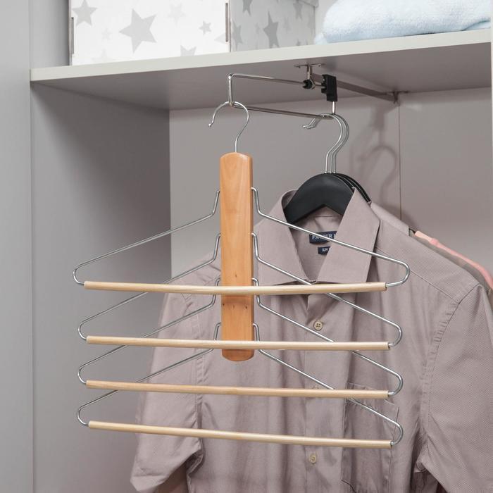 Вешалка-плечики для одежды 4-х уровневая, размер 44-46, светлое дерево сорт В - фото 4642677