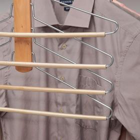 Вешалка-плечики для одежды 4-х уровневая, размер 44-46, светлое дерево сорт В - фото 7303082