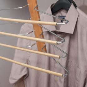 Вешалка-плечики для одежды 4-х уровневая, размер 44-46, светлое дерево сорт В - фото 7303084