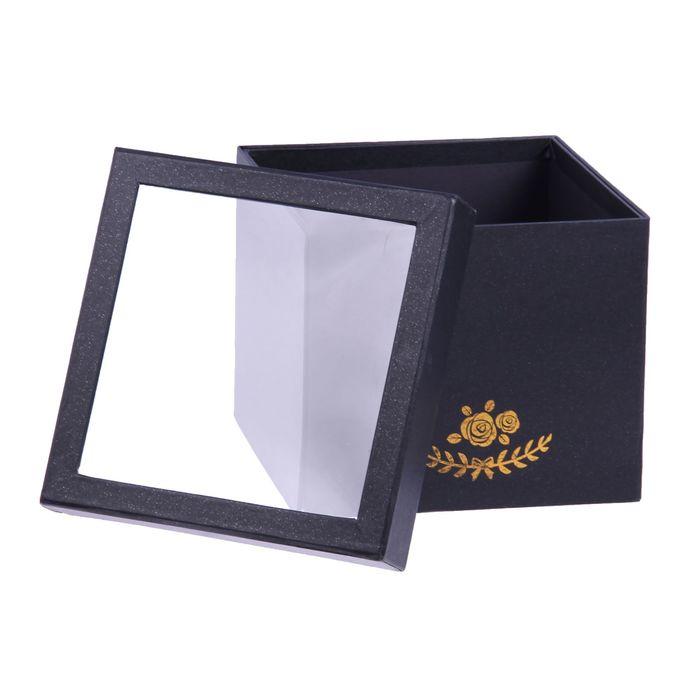 Коробка подарочная, чёрный, 18 х 18 х 15,5 см