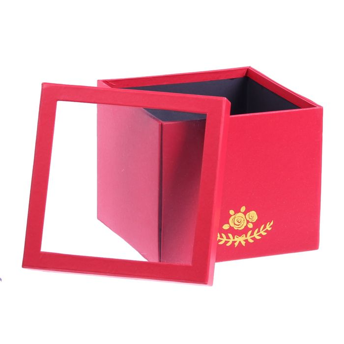 Коробка подарочная, красный, 18 х 18 х 15,5 см