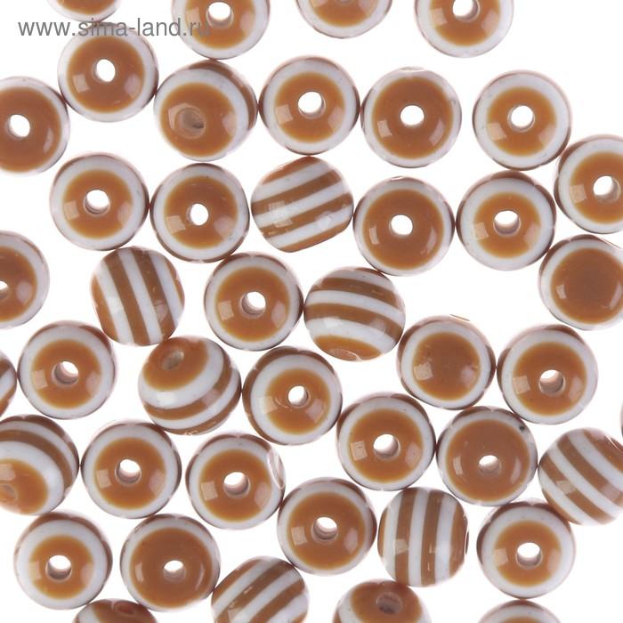"""Бусины """"Zlatka"""" акрил STR-06 6мм  набор 100±5шт (28 коричнево-белый)"""