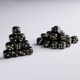 Dice 1.6x1.6 cm, wood, black with gold points, packing 100 PCs