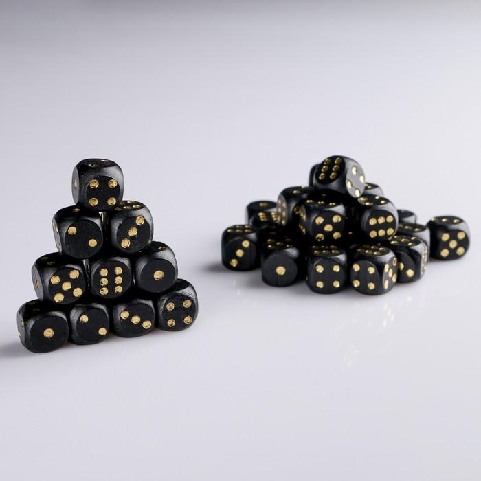 Кости игральные 1.6х1.6 см, дерево, черный с золотыми точками, фасовка 100 шт