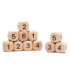 Dice 2x2 cm wood, Arabic numerals, packing 100 PCs