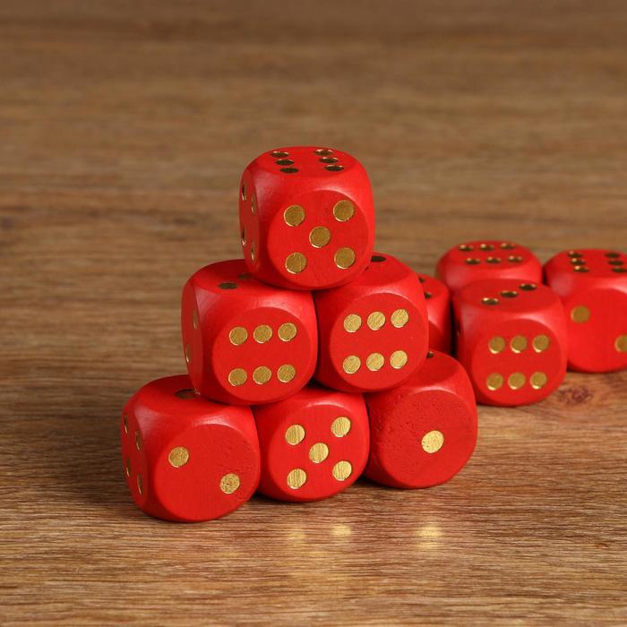 Кости игральные 3х3 см дерево, красные, золотые точки, фасовка 50шт