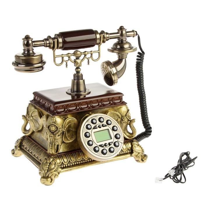 """Телефон ретро, """"Индия"""", бронза с пластик. вставками под дерево 18х22х27"""