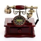 Ретро-телефон с выдвижным ящиком, темное дерево, 16х23х25 см