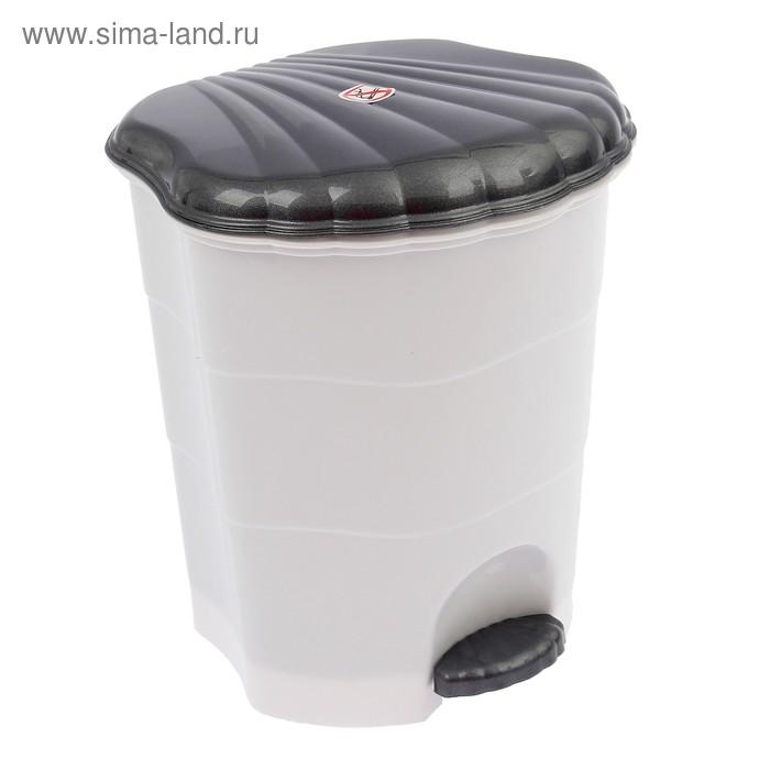 Ведро для мусора с педалью 7 л, цвет белый/серый