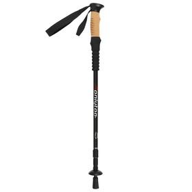 Палка для скандинавской ходьбы, телескопическая, 3 секции, до 135 см, (1 шт), цвет чёрный