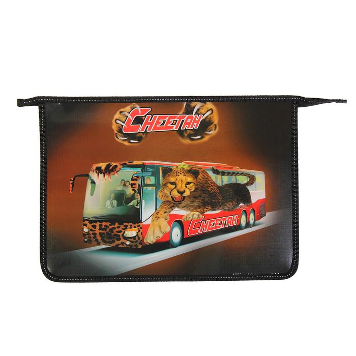 Папка д/тетрадей А4 молния сверху, ламинированный картон, для мальчика К «Автобус гепард» 30Ш4